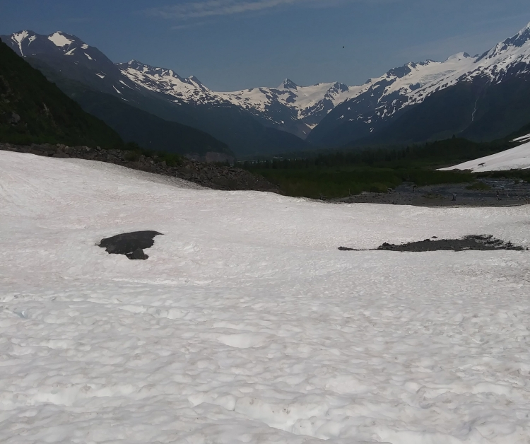 Looking back down from Byron glacier in front of snow-capped mountains